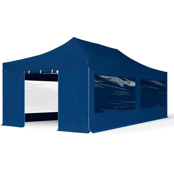 4x8 m Faltpavillon PROFESSIONAL Alu 50mm, Seitenteile mit Panoramafenstern, blau