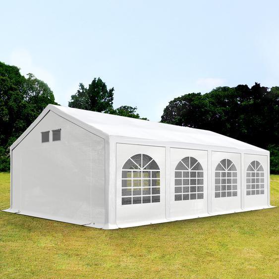 4x8 m Partyzelt, PE 300 g/m², mit Bodenrahmen, weiß