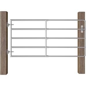 5-Rohr-Weidetor Stahl (95-170)×90 cm Silbern - VIDAXL
