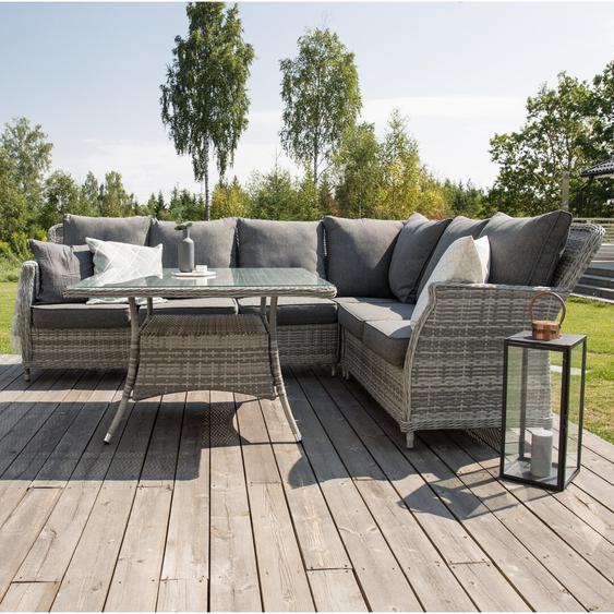5-Sitzer Lounge-Set Adhelin aus Rattan mit Polster