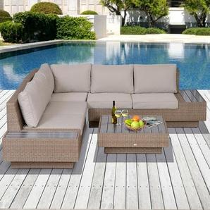 5-Sitzer Lounge-Set Johson aus Polyrattan mit Polster