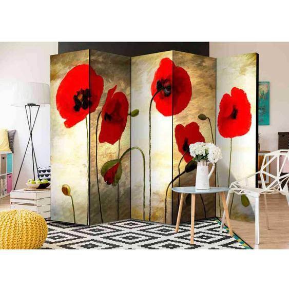 5-teiliger Paravent mit Mohnblumen Motiv 225 cm breit
