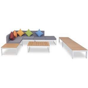 5-tlg. Garten-Lounge-Set mit Auflagen Aluminium und WPC - VIDAXL