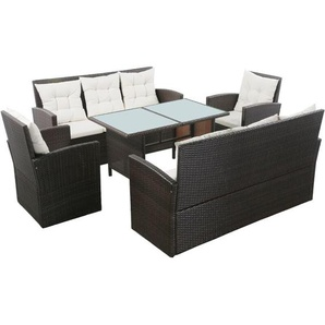 5-tlg. Garten-Lounge-Set mit Auflagen Poly Rattan Braun - VIDAXL