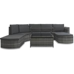 5-tlg. Garten-Lounge-Set mit Auflagen Poly Rattan Grau - VIDAXL