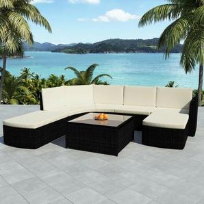 5-tlg. Garten-Lounge-Set mit Auflagen Poly Rattan Schwarz - VIDAXL
