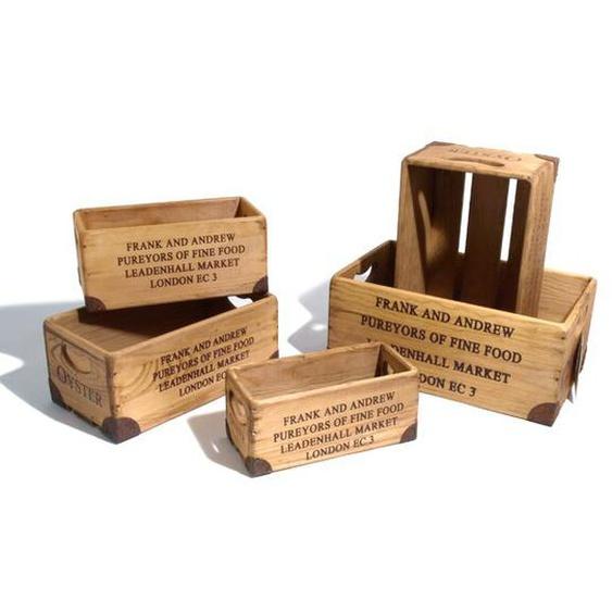 5-tlg. Kisten-Set aus Holz