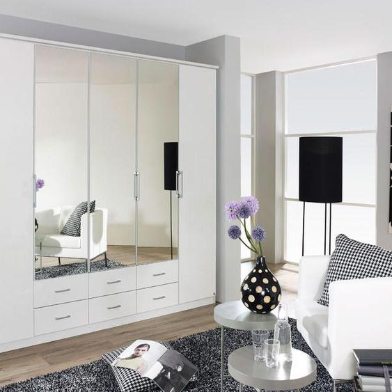 5-trg. Falttürenkleiderschrank Hochglanz weiß, 3 Spiegeltüren und 6 Schubkästen, mit 3 Einlegeböden und 3 Kleiderstangen Maße: B/H/T ca. 226/212/56 cm