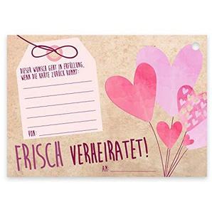 50 Luftballon-Karten Frisch verheiratet I dv_371 I DIN A6 I Set Ballon-Flugkarten zur Hochzeit I gelocht, extra leicht, rosa, beige I Wunschkarte