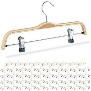50 x Hosenbügel Holz, verstellbare & gummierte Clips, 360° drehbarer Haken, Kleiderbügel, 37cm breit, Klemmbügel, natur - RELAXDAYS