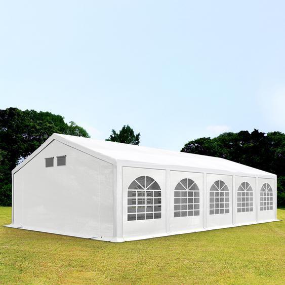 5x10 m Partyzelt, PE 300 g/m², mit Bodenrahmen, weiß