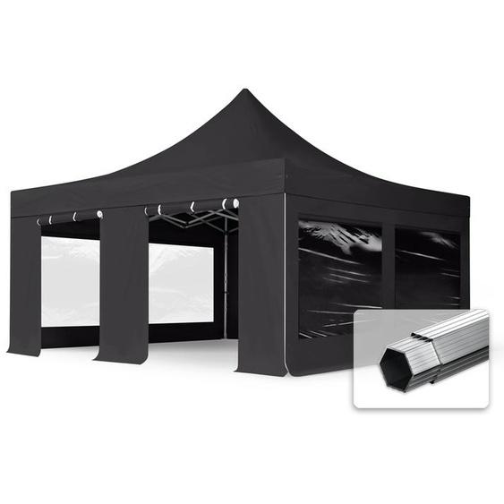 5x5 m Faltpavillon, PROFESSIONAL Alu 50mm, feuersicher, Seitenteile mit Panoramafenstern, schwarz