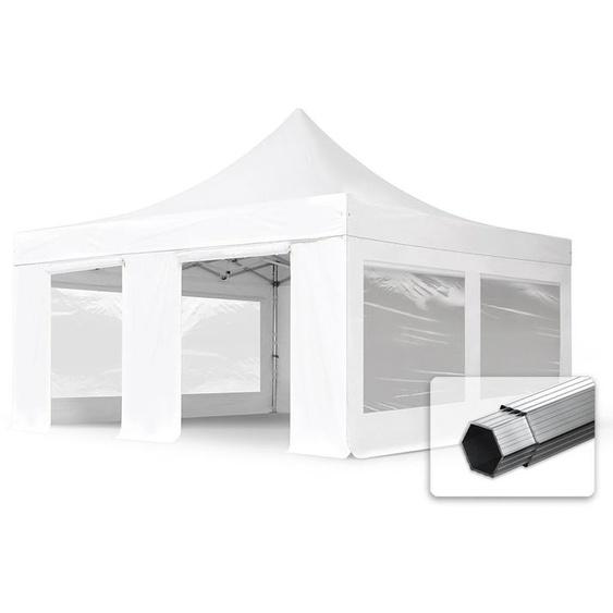 5x5 m Faltpavillon, PROFESSIONAL Alu 50mm, feuersicher, Seitenteile mit Panoramafenstern, weiß