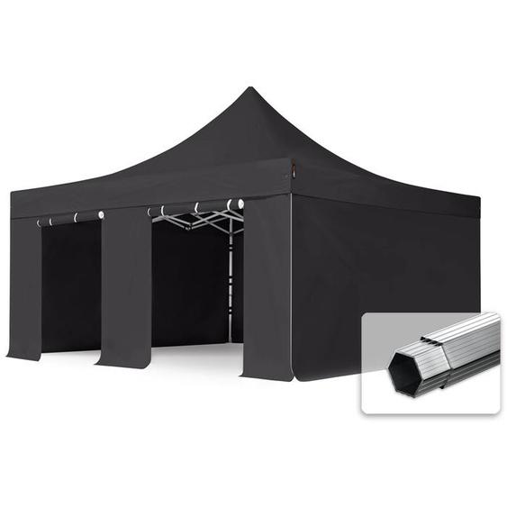 5x5 m Faltpavillon, PROFESSIONAL Alu 50mm, feuersicher, Seitenteile ohne Fenster, schwarz