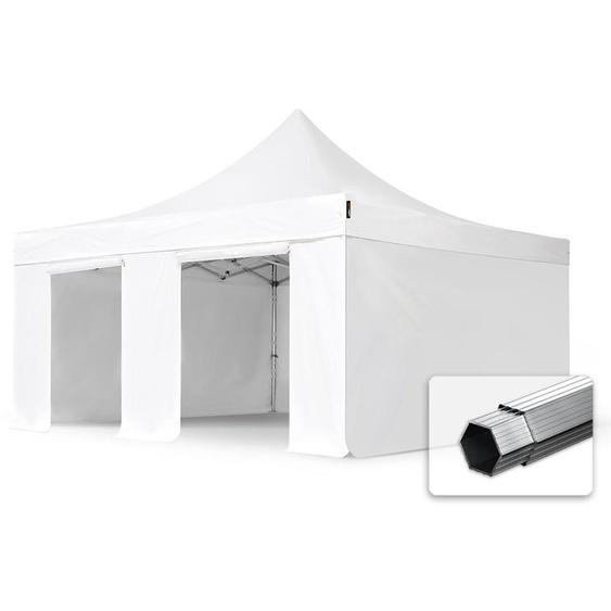 5x5 m Faltpavillon, PROFESSIONAL Alu 50mm, feuersicher, Seitenteile ohne Fenster, weiß