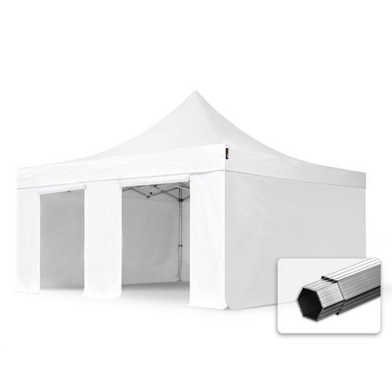 5x5m Faltpavillon PROFESSIONAL Alu 50mm, Seitenteile ohne Fenster, weiß