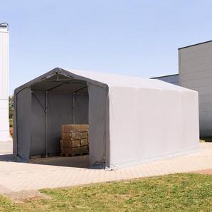 5x8 m Zelthalle - 3,0 m Seitenhöhe mit Reißverschlusstor, PVC 550 g/m² grau | ohne Statik