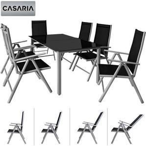 Deuba Sitzgruppe Alu Bern 6+1 | 7-Fach verstellbare Hochlehner | Tisch mit Sicherheitsglas | Aluminiuim Silber - Garten Set - CASARIA