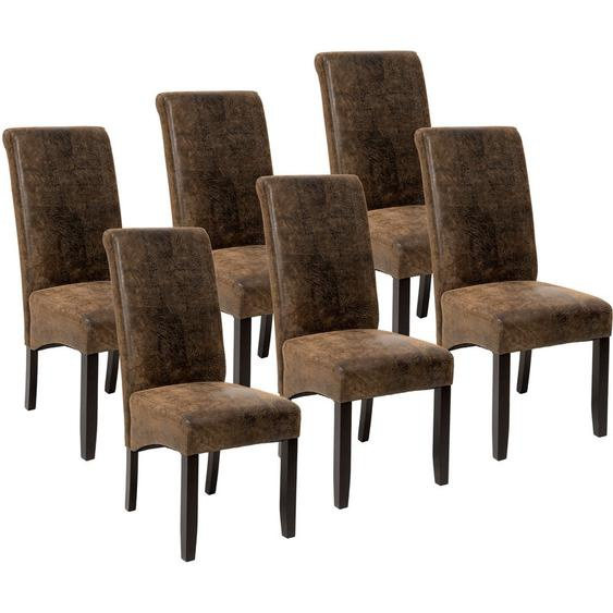 6 Esszimmerstühle, ergonomisch, massives Hartholz - Küchenstuhl, Freischwinger, Armlehnstuhl - antikbraun