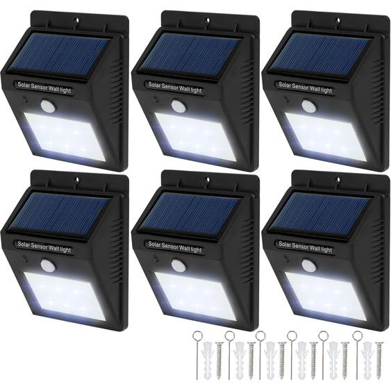 6 LED Solar Leuchten mit Bewegungsmelder - schwarz