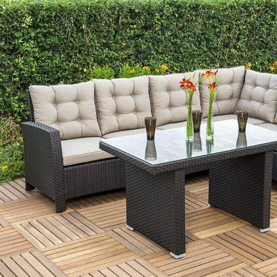6-Sitzer Lounge Set aus Polyrattan mit Polster