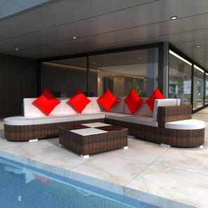 6-Sitzer Lounge-Set aus Rattan mit Polster