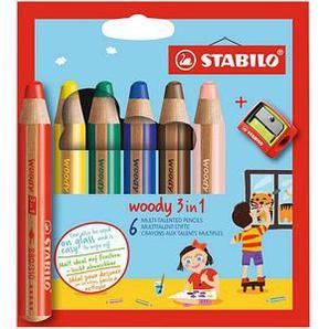 6 STABILO woody 3 in 1 Buntstifte farbsortiert