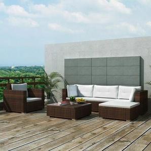 6-tlg. Garten-Lounge-Set mit Auflagen Poly Rattan Braun - VIDAXL