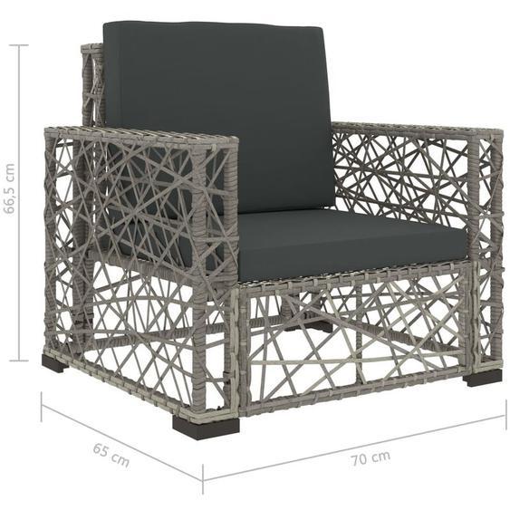 6-Tlg. Garten-Lounge-Set Mit Auflagen Poly Rattan Grau
