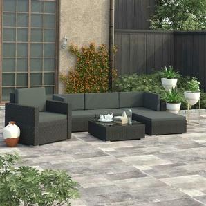 6-tlg. Garten-Lounge-Set mit Auflagen Poly Rattan Schwarz - VIDAXL