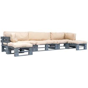 6-tlg. Garten-Lounge-Set Paletten Sandfarbene Auflagen Holz - VIDAXL