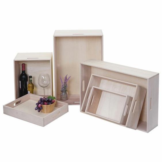 6-tlg. Kisten-Set aus Massivholz