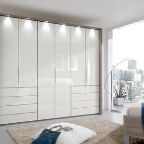 6-trg. Kleiderschrank mit Gleittüren-Panorama-Funktion in Trüffeleiche NB, Glasfront in magnolie mit 8 Auszügen, Maße: B/H/T ca. 300/236/58 cm