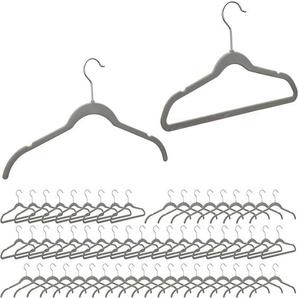 60 x Kleiderbügel Samt, platzsparende Bügel, rutschfester Velourbezug, Haken 360° drehbar, Samtbügel Anzug, grau - RELAXDAYS