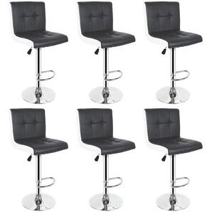 6er-Set Barhocker aus Kunstleder. Höhenverstellbar. 360° frei drehbar Schwarz+Weiß - WYCTIN
