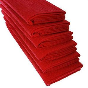 6x DESIGN GARIELLA® Geschirrtuch aus 100% Baumwolle Waffel-Piqué in rot / Küchentuch / Putztuch