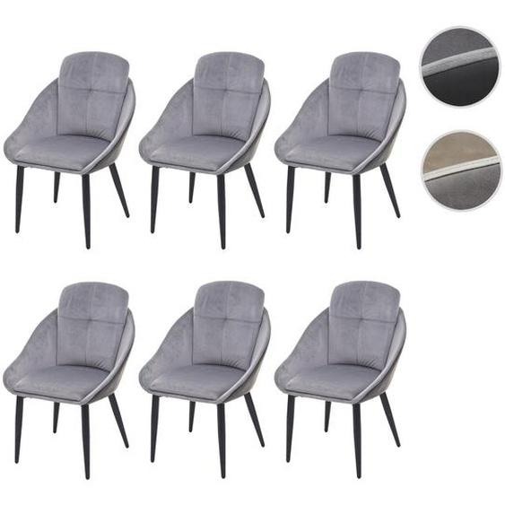 6x Esszimmerstuhl HWC-G42, Stuhl mit Armlehne K�chenstuhl Lehnstuhl ~ Samt, grau-anthrazit