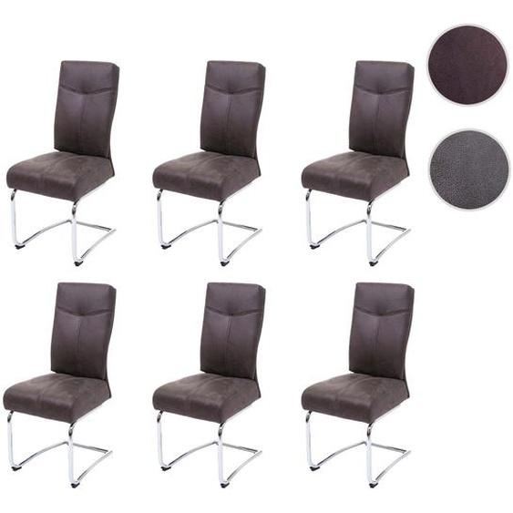 6x Esszimmerstuhl HWC-G56, K�chenstuhl Freischwinger Stuhl, Textil Wildleder-Optik ~ braun