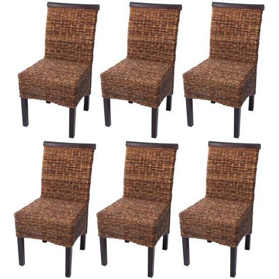 6x Esszimmerstuhl Korbstuhl M45 Stuhl Bananengeflecht ~ dunkel, ohne Kissen