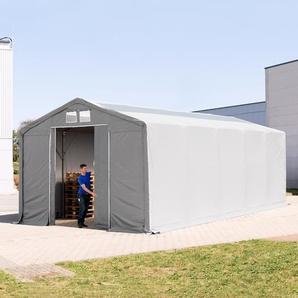6x10 m Zelthalle - 3,0 m Seitenhöhe mit Schiebetor und Oberlichtern, PVC 550 g/m² grau | ohne Statik