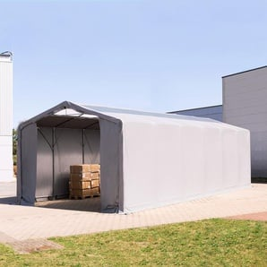 6x12 m Zelthalle - 3,0 m Seitenhöhe mit Reißverschlusstor und Oberlichtern, PVC 550 g/m² grau | mit Statik (Erduntergrund)