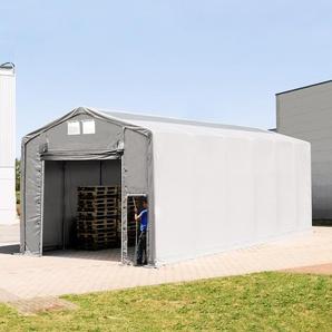 6x12 m Zelthalle - 3,6 m Seitenhöhe mit Hochziehtor und Oberlichtern, PVC 550 g/m² grau | ohne Statik