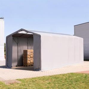 6x12 m Zelthalle - 3,6 m Seitenhöhe mit Reißverschlusstor und Oberlichtern, PVC 550 g/m² grau | ohne Statik