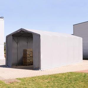 6x12 m Zelthalle - 4,0 m Seitenhöhe mit Reißverschlusstor, PVC 550 g/m² grau | mit Statik (Erduntergrund)