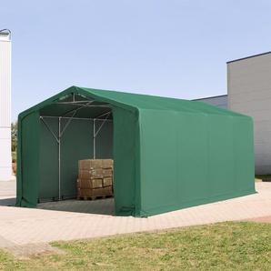 6x8 m Zelthalle - 3,0 m Seitenhöhe mit Reißverschlusstor, PVC 720 g/m² dunkelgrün | ohne Statik