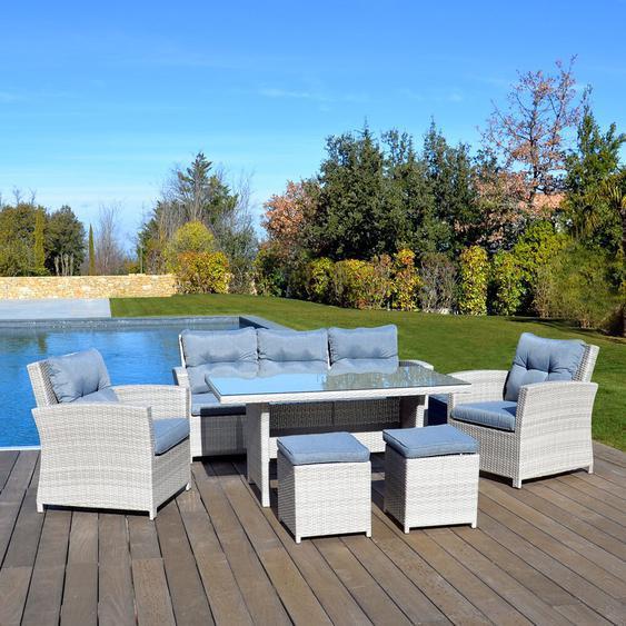 7-Sitzer Gartengarnitur Rorry mit Polster