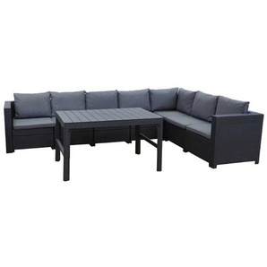 7-Sitzer Lounge-Set Roderica aus Polyrattan mit Polster