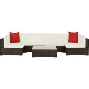 7-tlg. Garten-Lounge-Set mit Auflagen Poly Rattan Braun - VIDAXL