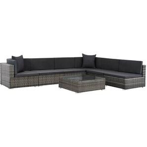 7-tlg. Garten-Lounge-Set mit Auflagen Poly Rattan Grau - VIDAXL