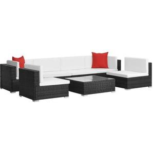 7-tlg. Garten-Lounge-Set mit Auflagen Poly Rattan Schwarz - VIDAXL